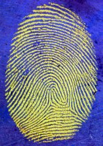 fingerprint with blue background